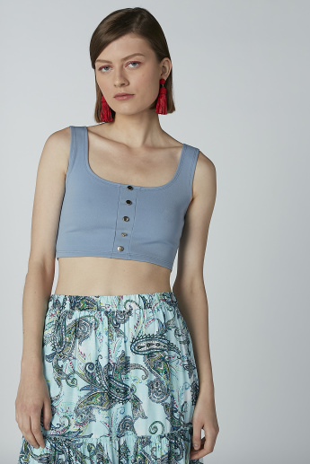 Plain Sleeveless Crop Top with Scoop Neck and Button Detail