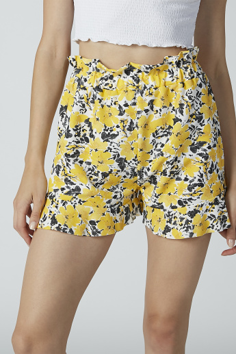 Floral Printed Mid-Rise Shorts with Elasticised Waistband