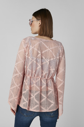 Lace Top with Long Sleeves and Tie Ups