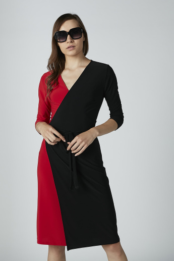Plain Midi Wrap Dress with 3/4 Sleeves and Tie Ups