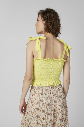 Smocked Square Neck Top with Tie Up Shoulder Straps