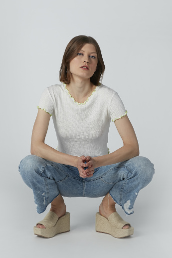 Textured Crop Top with Round Neck and Short Sleeves