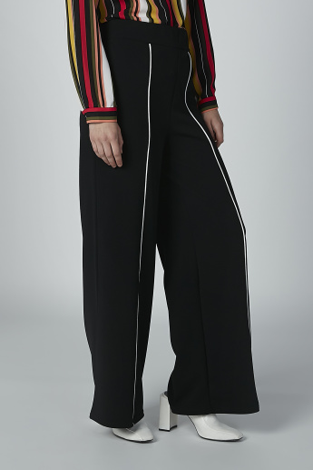 Plain Mid-Waist Palazzo Pants with Elasticised Waistband