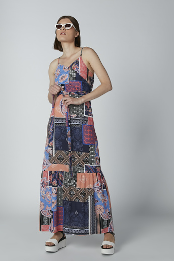 Printed Maxi Dress with V-neck and Tie Ups