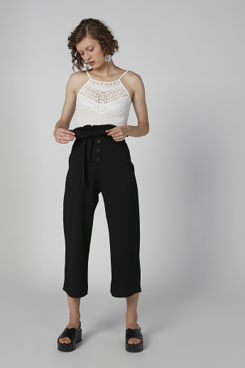 Textured Mid-Rise Culottes with Button Detail and Paper Bag Waist