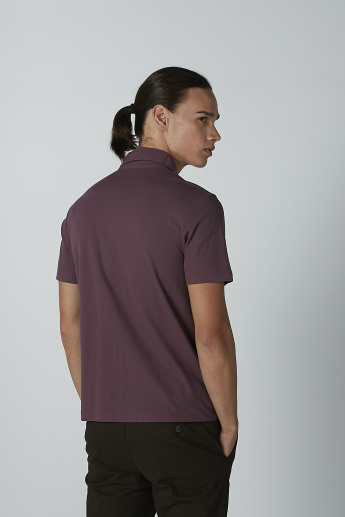 Plain T-shirt with Polo Neck and Short Sleeves