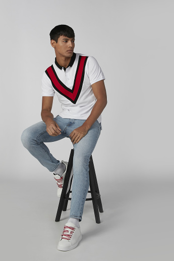 Striped Detail T-shirt with Polo Neck and Short Sleeves