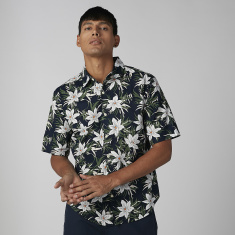 Floral Printed Shirt with Short Sleeves and Spread Collar