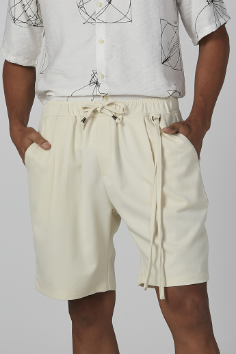 Plain Flexi Waist Shorts with Pocket Detail and Drawstring