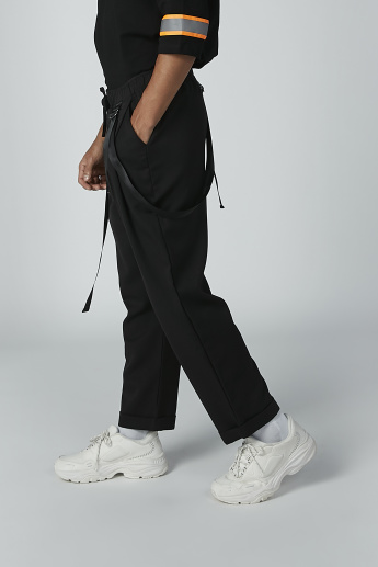 Plain Trousers with Drawstring and Strap Detail