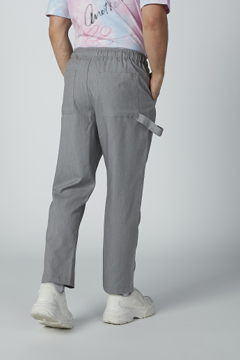 Plain Flexi Waist Trousers with Pocket Detail and Drawstring