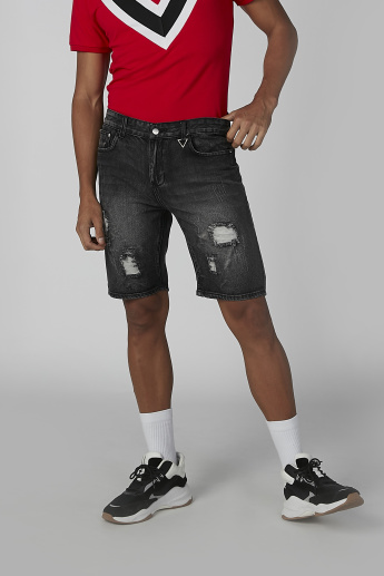 Distressed  Mid Waist Denim Shorts with Pocket Detail and Belt Loops