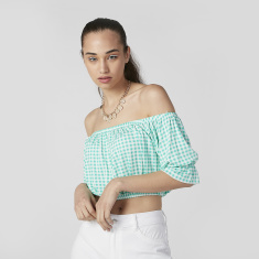 Chequered Off Shoulder Crop Top with Elasticised Hem