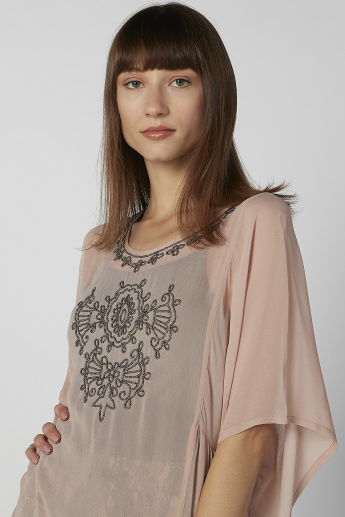 Embellished Tunic with Round Neck and Flared Sleeves