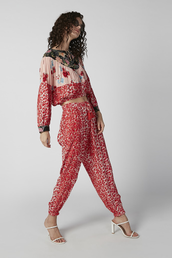 Printed Flexi Waist Pants with Elasticised Waistband and Drawstring