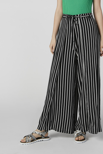 Striped Flexi Waist Palazzo Pants with Tie Ups and Side Slit