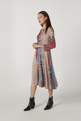 Printed Midi A-line Dress with V-neck and Long Sleeves