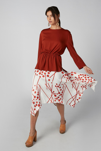 Koton Printed Skirt with Asymmetric Hem