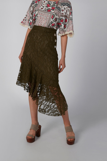 Koton Lace Skirt with Button Detail and Asymmetric Hem
