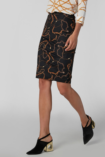 Koton Printed Pencil Skirt with Zip Closure and Back Slit