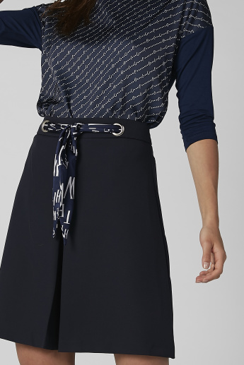 Koton Plain A-Line Skirt with Printed Belt Detail