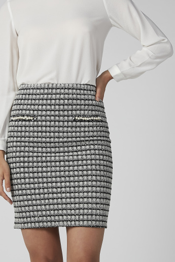 Koton Textured Mini Bodycon Skirt with Pearl Detail