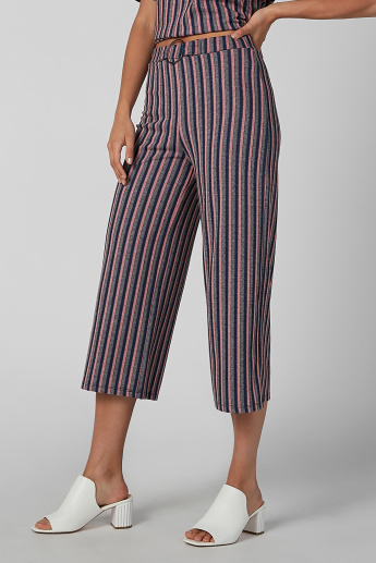 Koton Striped Culottes with Belt Detail