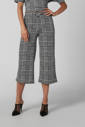Koton Chequered Culottes with Belt Detail