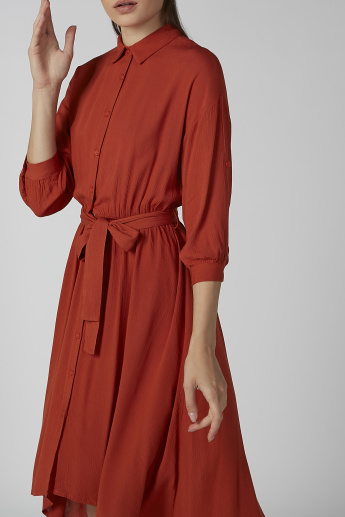 Koton Plain Shirt Dress with Tie Ups and High Low Hem