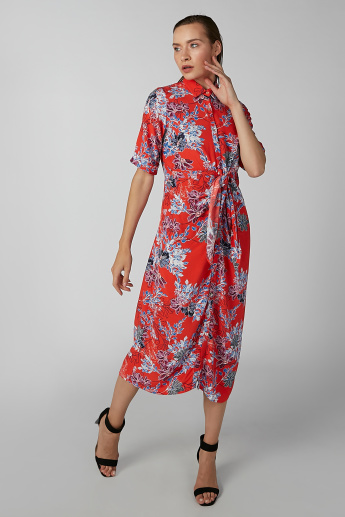 Koton Floral Printed Midi Shirt Dress with Long Sleeves and Tie Ups