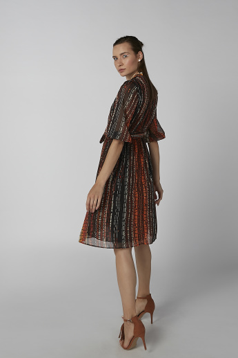 Koton Printed A-line Dress with Short Sleeves and Tie Ups
