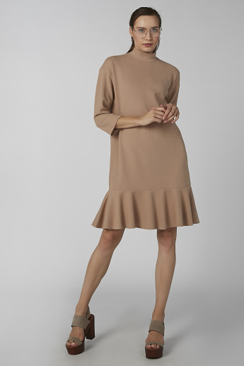 Koton Plain A-line Dress with High Neck and 3/4 Sleeves