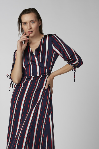 Koton Striped Midi Wrap A-line Dress with 3/4 Sleeves and Tie Ups