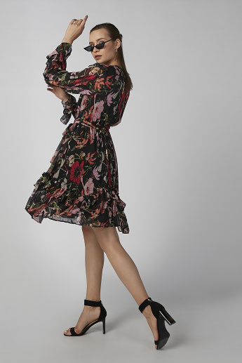 Koton Floral Printed Midi A-line Dress with Long Sleeves