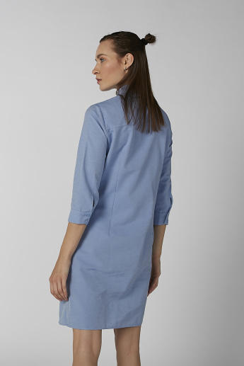 Koton Shirt Dress with Twist Detail and Spread Collar