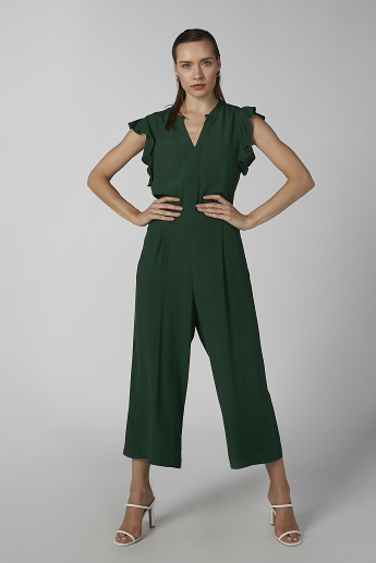 Koton Plain Sleeveless Jumpsuit with Ruffle Detail and Tie Ups