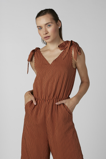 Koton Striped V-neck Sleeveless Jumpsuit