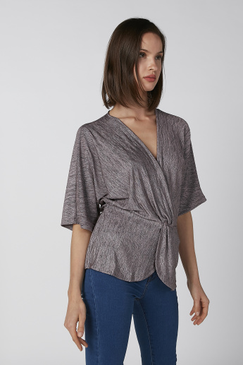 Koton Textured V-neck Blouse with 3/4 Sleeves and Tie-Up Detail
