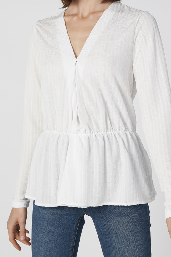 Koton Textured Peplum Top with V-neck and Long Sleeves