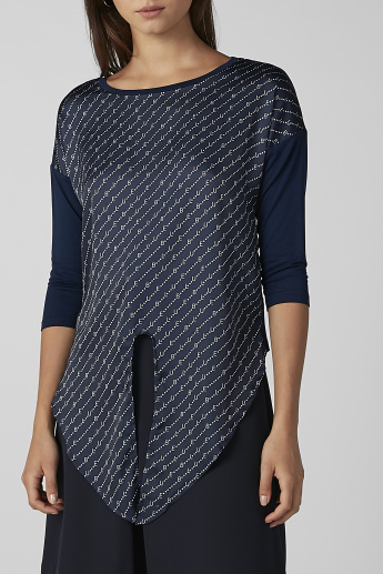 Koton Printed Top with Tie Ups and 3/4 Sleeves