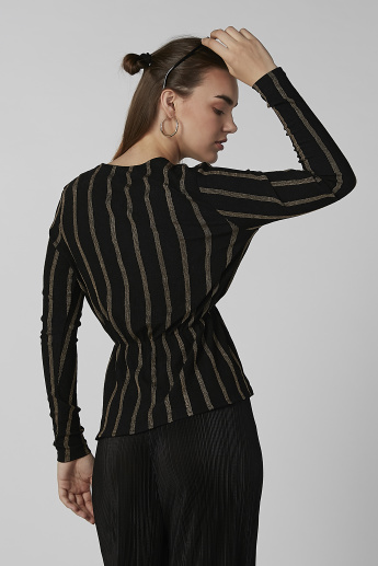 Koton Striped Peplum Top with V-neck and Long Sleeves