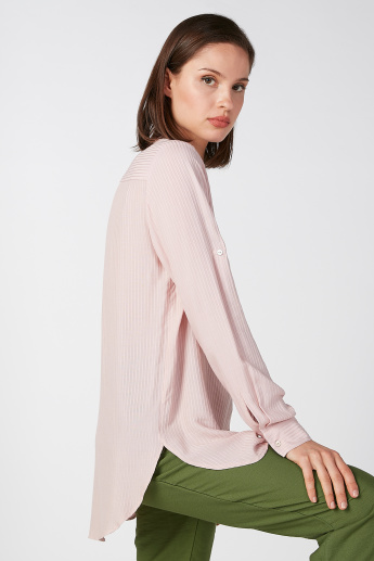 Koton Striped Shirt with Long Sleeves and High Low Hem