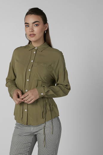 Koton Plain Shirt with Long Sleeves and Tie Ups