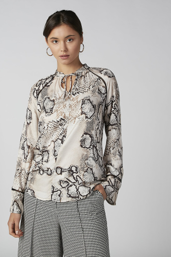 Koton Animal Printed Top with Long Sleeves