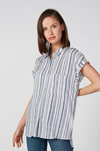 Koton Striped Collared Shirt with High Low Hem