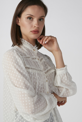 Koton Textured Shirt with Mandarin Collar and Long Sleeves