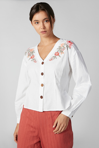 Koton Floral Embroidered Shirt with V-neck and Long Sleeves