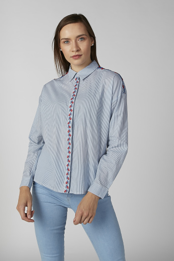 Koton Striped Shirt with Concealed Placket and Embroidery