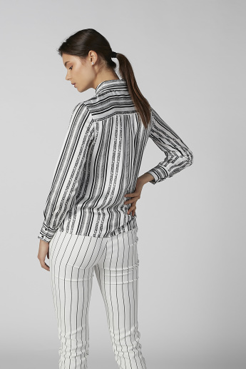 Koton Striped Shirt with Long Sleeves and Chest Pocket Detail