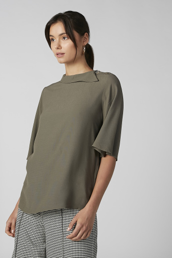 Koton Plain Top with 3/4 Sleeves and Button Detail